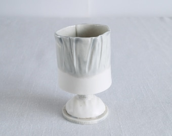 RUCHED No9 porcelain tea light holder, grey and white with stem