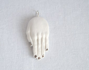 Sculpted porcelain HAND necklace with silver or stainless steel chain
