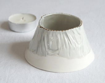 RUCHED No8 conical porcelain tea light holder, grey white gold