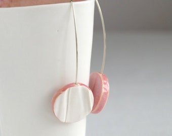 Geometric circle earrings, porcelain silver RUCHED No13, pink