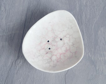Zen PEBBLE ceramic soap dish, drain holes, porcelain, grey blush pink bubble glaze, zen decor
