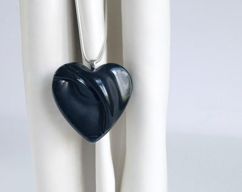 Black HEART necklace, porcelain 925 sterling silver snake chain