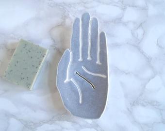Ceramic HAND soap dish, draining, white porcelain, blue grey