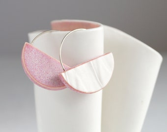 Porcelain geometric earrings, sterling silver, RUCHED No12 semi circle, pink glaze