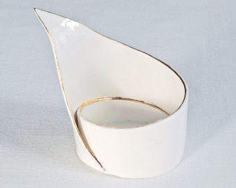 Ceramic spiral LILY tea light holder, gold lustre white porcelain candle holder, zen moment