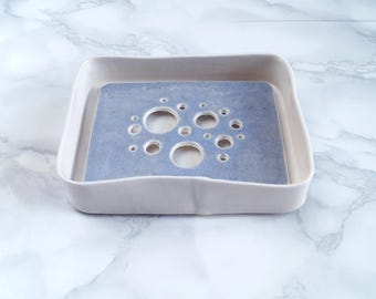 Porcelain BUBBLE soap dish and tray set, draining ceramic soap dish, blue grey