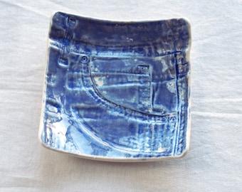 Ceramic coin bowl blue denim JEANS