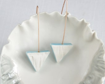 Geo triangle earrings rose gold porcelain RUCHED No14, jade