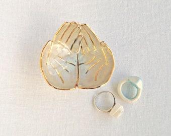 OFFERING hands ceramic ring dish, gold lustre white porcelain, soft red glaze, mini size