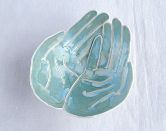 OFFERING hands bowl, ceramic porcelain, turquoise aqua