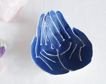 OFFERING ceramic hands bowl with matt blue glaze, life size porcelain