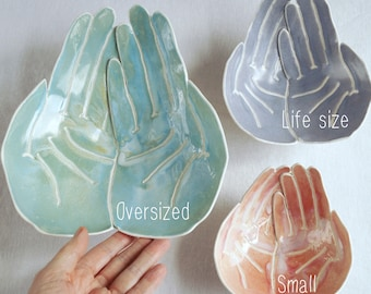 OFFERING hands bowl, porcelain ceramic, 9 colours 3 sizes choice, made to order