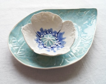 POPPY bowl and LEAF plate set, aqua celadon cobalt blue glazes