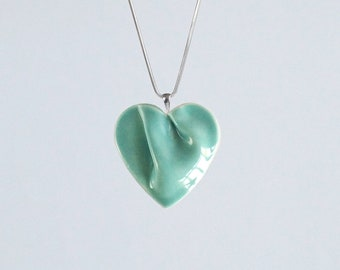 Jade heart necklace 925 sterling silver snake chain