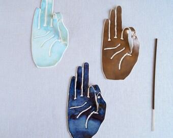 MUDRA porcelain ceramic hand incense holder, 9 colours, made to order