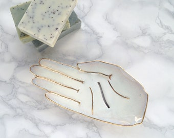 Luxury white and gold ceramic soap dish, HAND porcelain soap dish