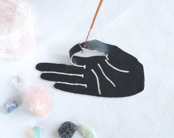 MUDRA porcelain ceramic hand incense holder, black