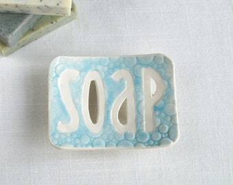 Typography soap dish, porcelain bubble texture, May grey, Cobalt blue, Summer sky