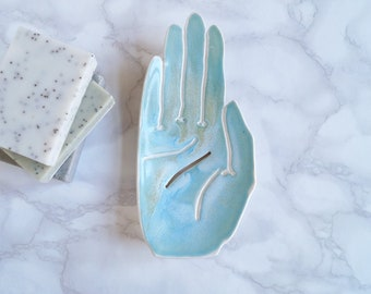Ceramic HAND soap dish, draining, white porcelain, turquoise aqua
