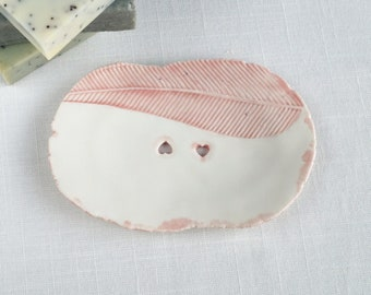 Hand made feather soap dish with heart holes pink and white glazes