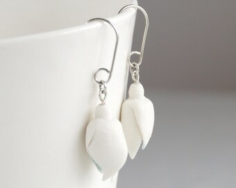 Snowdrop dangle earrings, porcelain and 925 sterling silver