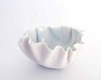 RUFFLED porcelain bowl, tea light holder, celadon blue
