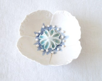 Porcelain POPPY bowl ceramic white flower blue aqua glazes