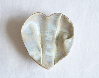 GATHERED No4 linen heart ring dish porcelain, white beige gold