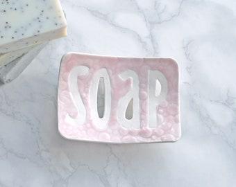 TYPO ceramic soap dish, white porcelain, bubble soap dish, blush pink