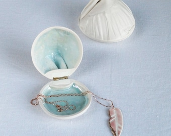 Porcelain jewellery box, RUCHED No10, blue mother of pearl