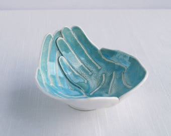 OFFERING hands bowl, small size aqua turquoise