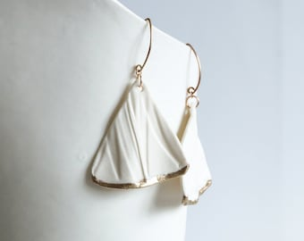 White porcelain rose gold earrings, RUCHED No8