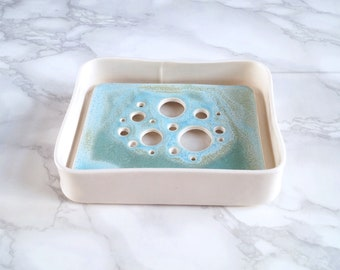 BUBBLE porcelain soap dish and tray set, aqua turquoise glaze