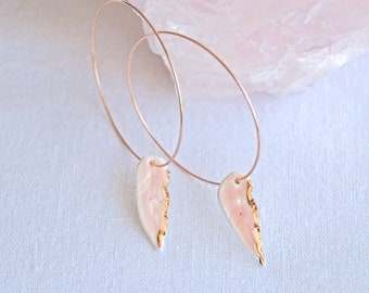 Feather hoop earrings, white porcelain feathers, copper / gold lustre, rose gold hoops