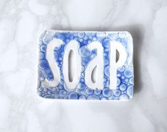 TYPO ceramic soap dish, white porcelain, bubble soap dish, blue