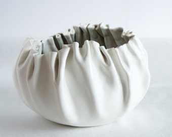 RUFFLED No7 freeform porcelain bowl, ceramic art bowl, grey white