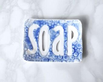 TYPO soap dish with cobalt blue bubble texture