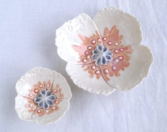 POPPY wall art, set of two wall hanging porcelain poppies