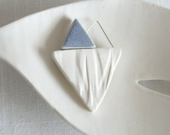 RUCHED No9 geometric heart brooch, white porcelain, silver wire, grey glaze