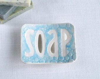 TYPO ceramic soap dish, white porcelain, bubble soap dish, summer sky blue