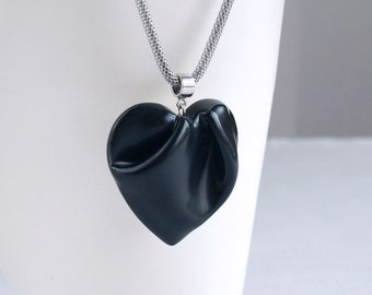 Black HEART necklace, porcelain ceramic, stainless steel mesh snake chain