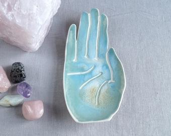 Ceramic PALM hand dish, porcelain, life size, turquoise aqua