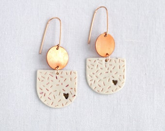 Copper HEART statement earrings,  pink white confetti pattern porcelain rose gold wires, Vanillakiln