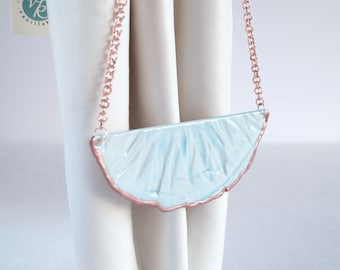 Bib necklace, porcelain rose gold, RUCHED No4, blue