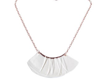 Bib necklace, white porcelain rose gold, RUCHED No1