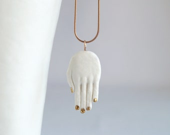 HAND amulet pendant necklace on rose gold chain, white porcelain, carat gold lustre nails