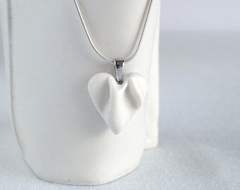 Small heart necklace porcelain ceramic, sterling silver snake chain