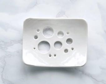 BUBBLE holes white porcelain soap dish, white glaze