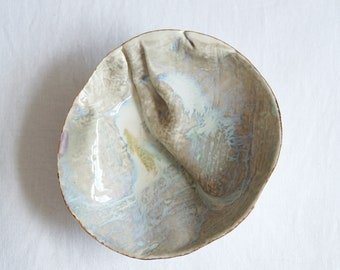 GATHERED No2 porcelain linen bowl, oval white beige gold