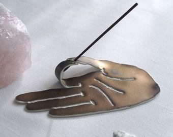 MUDRA hand incense holder, ceramic incense burner, porcelain incense stick holder, golden black, meditation zen